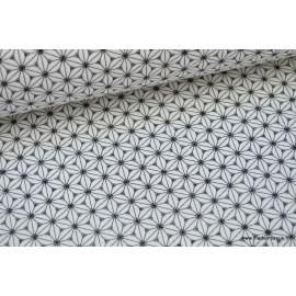 Tissu cretonne coton Noir et blanc imprimé tendance japonaise .x1m