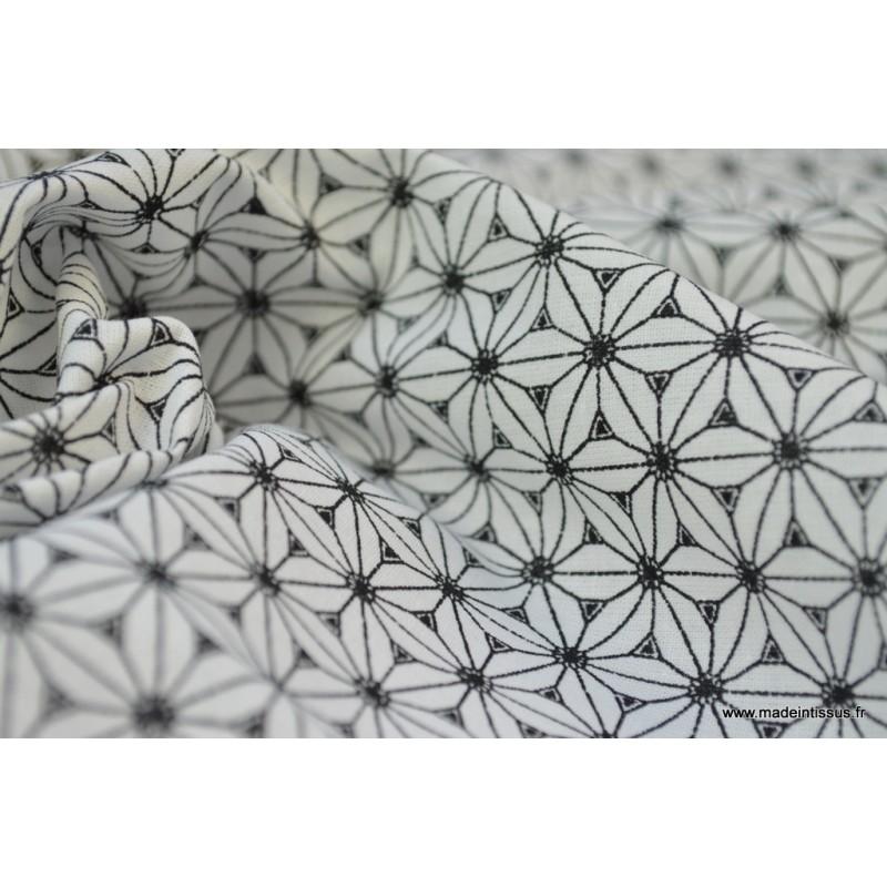 cretonne coton coloris noir et blanc l 39 imprim tendance japonais. Black Bedroom Furniture Sets. Home Design Ideas