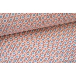 Tissu cretonne coton Kobe rouge imprimé tendance graphique .x1m
