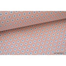 Tissu cretonne coton Kobe rouge imprimé tendance graphique x50cm