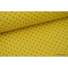 Tissu cretonne coton Ming jaune imprimé tendance Japonnais x50cm
