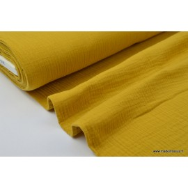 Tissu Double gaze coton Jaune Moutarde .x1m