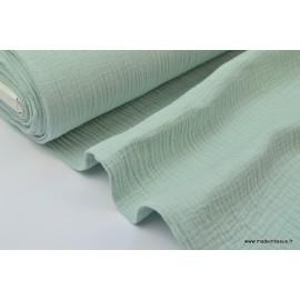 Tissu Double gaze coton vert menthe .x1m