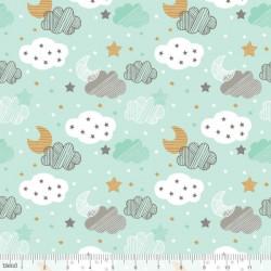 """Coton imprimé NUAGES  """"Sweet Dreams""""  VERT de Maude Asbury by Blend Fabrics .x1m"""