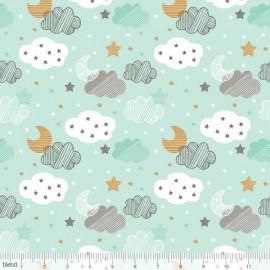 """Coton imprimé NUAGES """"Sweet Dreams"""" VERT de Maude Asbury by Blend Fabrics x25cm"""