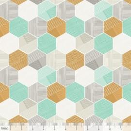"""Coton imprimé aux formes géométriques """"Sweet Dreams"""" VERT de Maude Asbury by Blend Fabrics x25cm"""