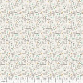 """Coton imprimé BRINDILLES ET BAIES vert/bleu """"Sweet Dreams"""" de Maude Asbury by Blend Fabrics x25cm"""