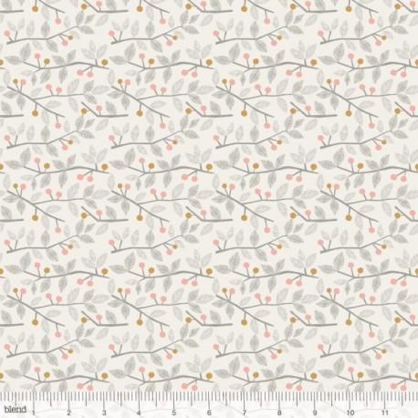 """Coton imprimé BRINDILLES ET BAIES rose  """"Sweet Dreams""""  de Maude Asbury by Blend Fabrics x25cm"""