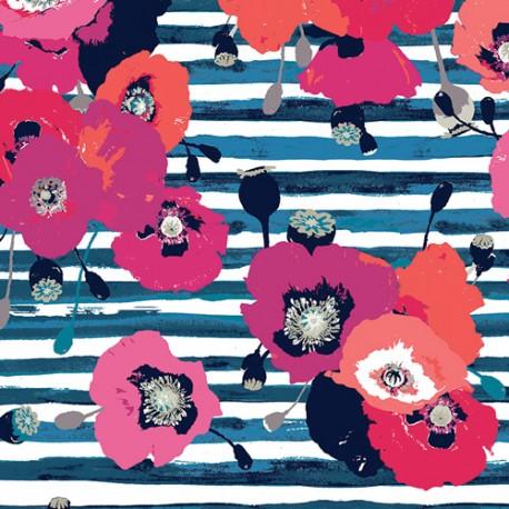 Popeline coton imprimé Coquelicots sur fond marine by Katarina Roccella ART GALLERY DESIGNER  x25cm