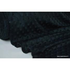 Tissu minky POIS NOIR x50cm