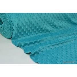 Tissu minky POIS PETROLE x50cm