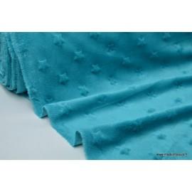 Tissu minky ETOILES PETROLE x50cm