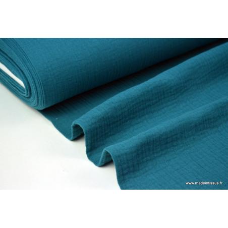 Tissu Double gaze coton petrole .x1m