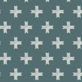 Tissu Popeline imprimé grosses croix sur fond petrole Pat Bravo by Art Gallery Fabrics .x1m
