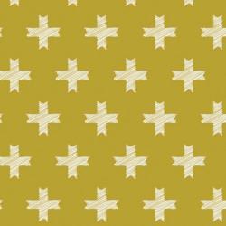 Popeline imprimé grosses croix sur fond moutarde Pat Bravo by Art Gallery Fabrics .x1m