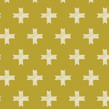 Popeline imprimé grosses croix sur fond moutarde Pat Bravo by Art Gallery Fabrics x25cm
