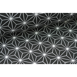 Tissu 100% coton imprimé formes géométriques noires .x1m