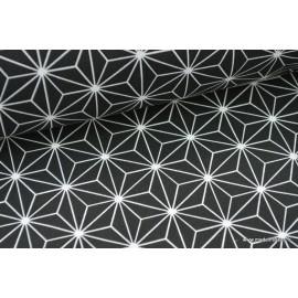 Tissu 100% coton imprimé formes géométriques noires x50cm