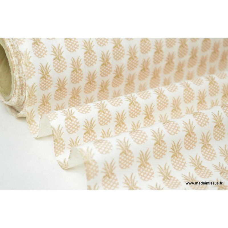Tissu Coton Imprimé Dananas Doré Et Incrustation Or