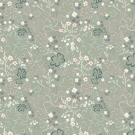 Popeline coton prenium imprimé fleurs roses et ciel sur fond menthe by ART FABRICS DESIGNER