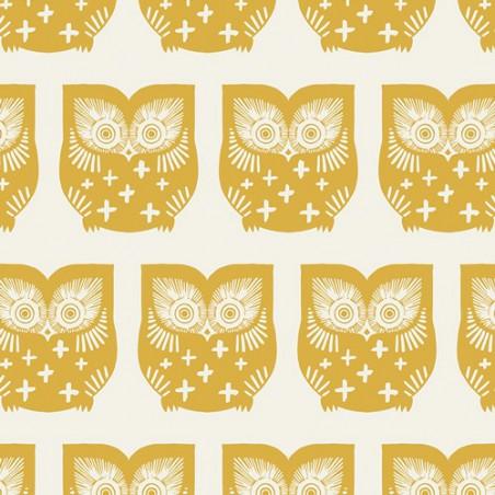 Tissu Popeline coton prenium imprimé hiboux moutarde by Art Gallery Fabrics .x1m