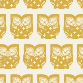 Popeline coton prenium imprimé hiboux moutarde by Art Gallery Fabrics .x1m