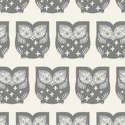 Tissu Popeline coton prenium imprimé hiboux Taupe by Art Gallery Fabrics .x1m