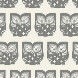 Popeline coton prenium imprimé hiboux Taupe by Art Gallery Fabrics .x1m