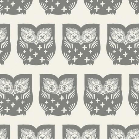 Popeline coton prenium imprimé hiboux Taupe by Art Gallery Fabrics x25cm
