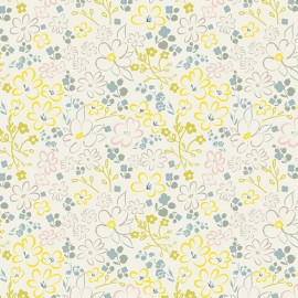 Popeline coton prenium imprimé fleurs roses, vert, jaune et petrole sur fond blanc by Art Gallery Fabrics x25cm