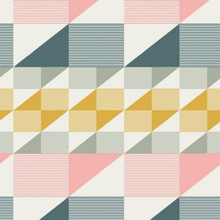 Coton imprimé prenium aux formes géométriques petrole, rose et moutarde .x1m