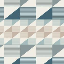 Tissu Coton imprimé prenium aux formes géométriques petrole, taupe et menthe .x1m