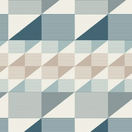 Coton imprimé prenium aux formes géométriques petrole, taupe et menthe .x1m