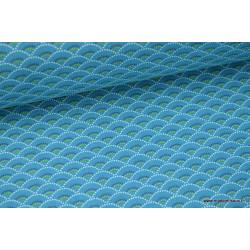 Tissu cretonne coton Koi emeraude imprimé  .x1m