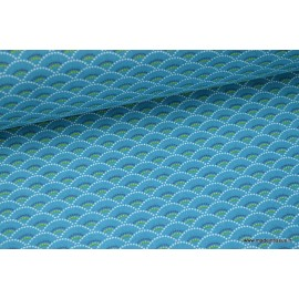 Tissu cretonne coton Koi emeraude imprimé  x50cm