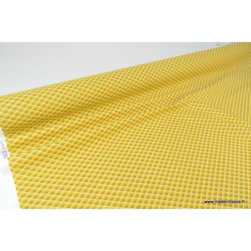 Cretonne coton koi coloris moutarde l 39 imprim tendance for Koi japonais prix