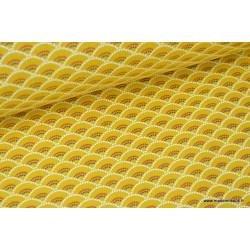 Tissu cretonne coton Koi Moutarde imprimé  .x1m