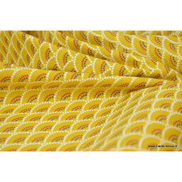 Tissu cretonne coton Koi Moutarde imprimé  x50cm