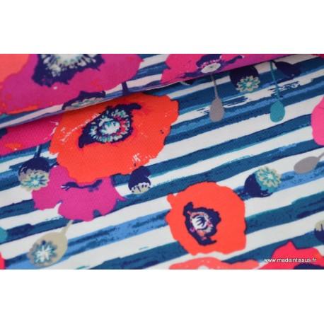 Jersey imprimé Coquelicots sur fond marine by Katarina Roccella ART GALLERY DESIGNER  x25cm
