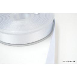 Ruban SATIN LUREX ARGENT - TRAME BLANC, 15 mm, au mètre