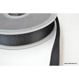 Ruban SATIN LUREX ARGENT - TRAME NOIR, 15 mm, au mètre