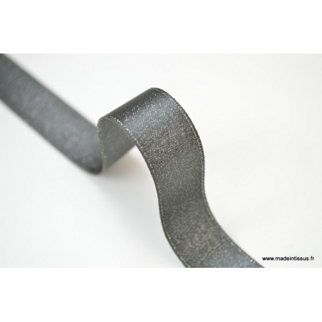 Ruban SATIN LUREX ARGENT - TRAME GRIS, 15 mm, .