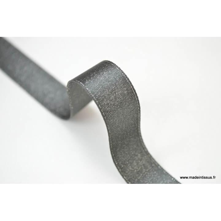 Ruban SATIN LUREX ARGENT - TRAME GRIS, 15 mm, au mètre