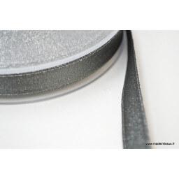 Ruban SATIN LUREX ARGENT - TRAME GRIS, 10 mm, au mètre