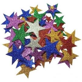 Formes étoiles paillettés en feutrines adhésive 150pcs