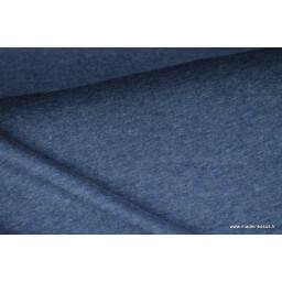 Tissu sweat envers minky coloris BLEU CHINE