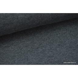 Tissu sweat envers minky coloris gris anthracite