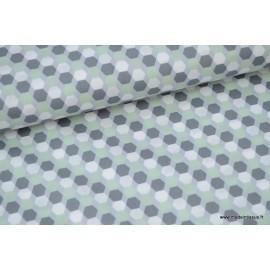 Popeline coton formes octogonales menthe et gris x50cm
