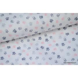 Popeline coton traces de pattes grises et roses x50cm