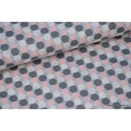 Popeline coton formes octogonales gris et rose x50cm